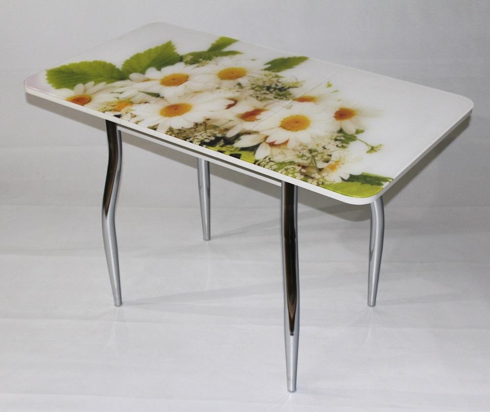 Стол стеклянный с фотопечатью для кухни