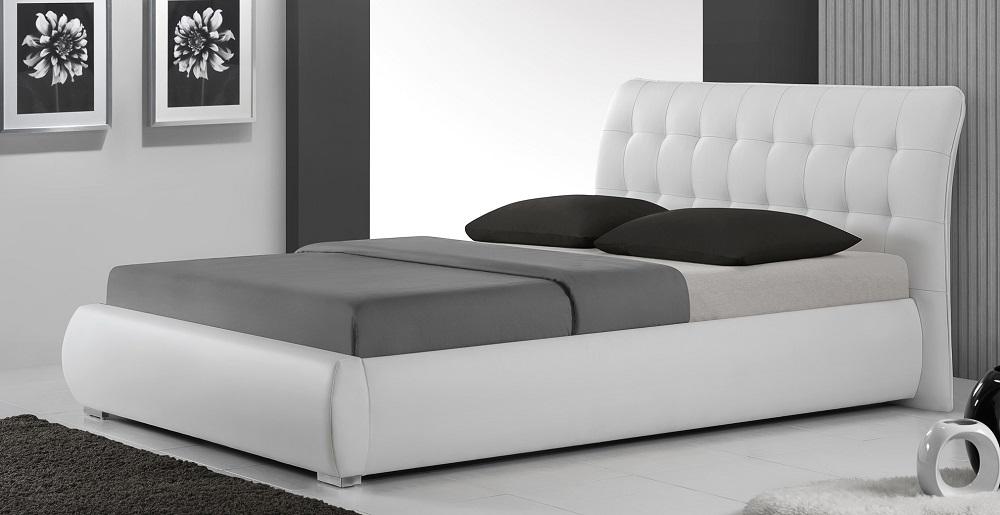 белая кровать из дерева и экокожи Mc 0547 купить в москве Glomartru