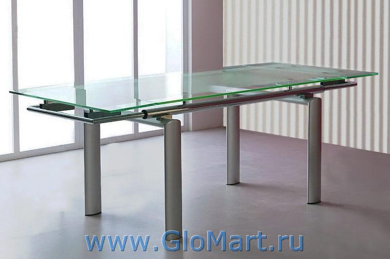 Стол обеденный стеклянный раздвижной Данон. Габариты: 1500 (разложенный 2100)*900, высота 750 мм