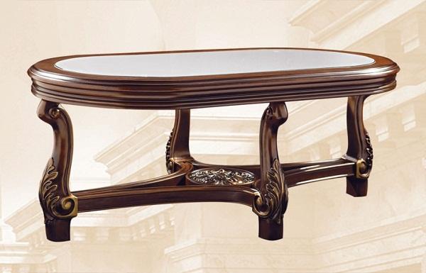 овальный журнальный стол из дерева и стекла Av 3559hs T1121