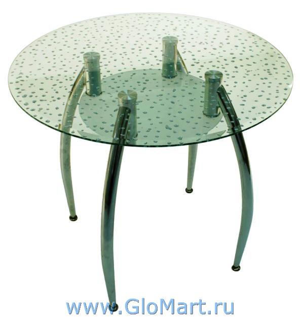 Стол стеклянный с круглой столешницей