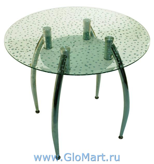 Круглый стеклянный стол для кухни ГМ-126 - купить недорого ...: http://www.glomart.ru/stoly/steklyannye/Kruglyj-steklyannyj-stol-D85-GM126.htm