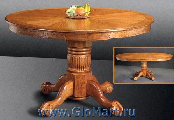 Круглый раздвижной стол из дерева
