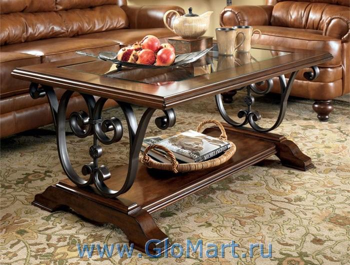 журнальный столик из дерева стекла и металла Sl 1165t 729 1