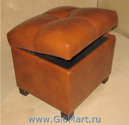 Банкетка мягкая с ящиком, рыжий цвет