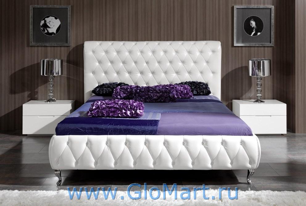 кровати из кожзама фото