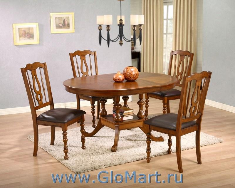 Обеденный стол цвет темный орех