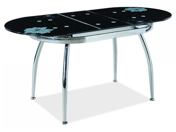 Стол стеклянный овальный с сиреневым узором москва