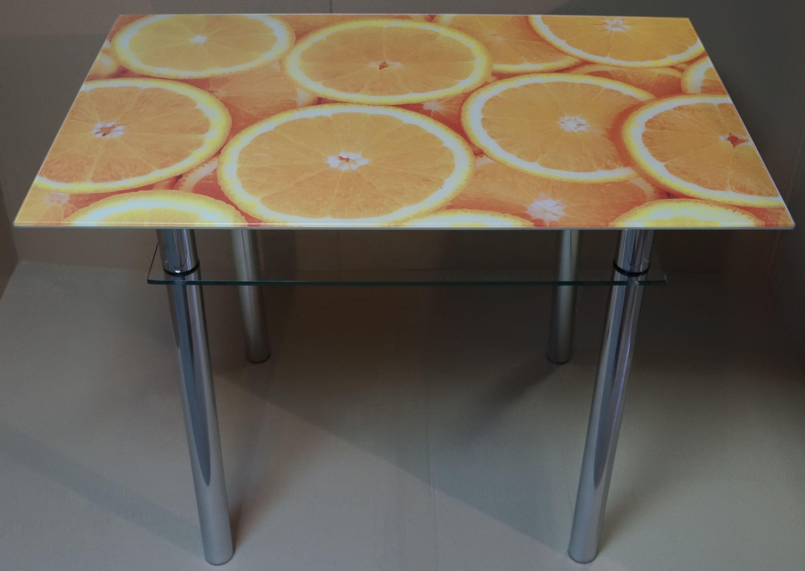 Milli ос-56 стеклянный стол для кухни с рисунком апельсины.