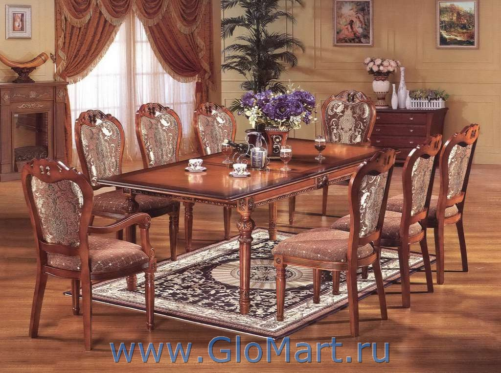 большой обеденный прямоугольный стол из дерева Mc 2048 купить в