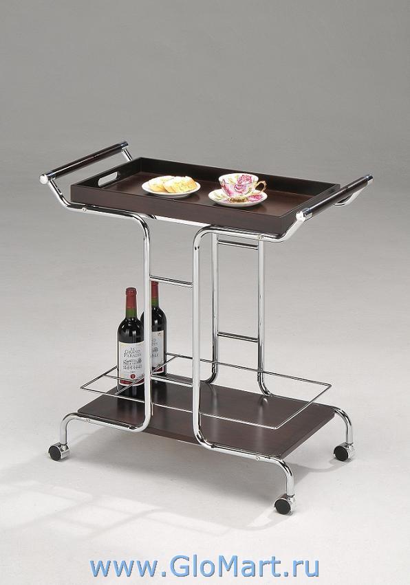 Стеклянный столик на колесах